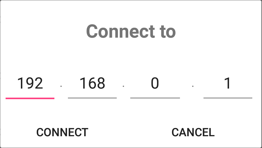 Connect dialog